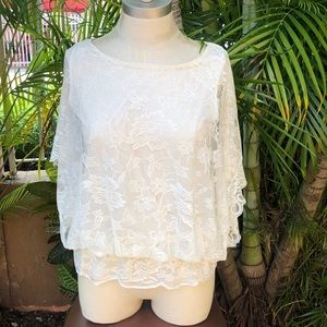 NEW YORK & COMPANY white laced lined peplum top